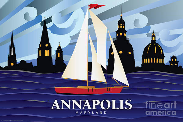 Cupola Digital Art - Annapolis Skyline Red Sail Boat by Joe Barsin