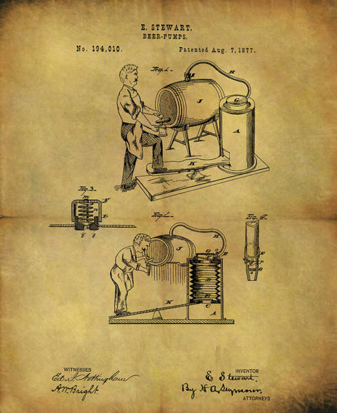 Mixed Media - Antique Beer Pump Patent by Dan Sproul