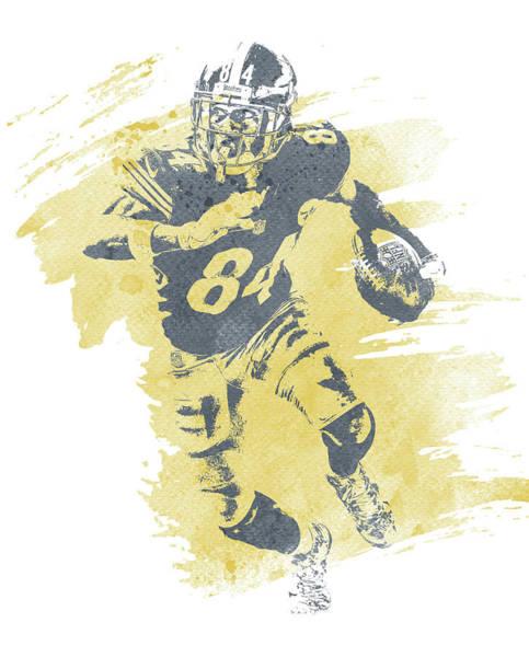 Wall Art - Mixed Media - Antonio Brown Pittsburgh Steelers Water Color Art 1 by Joe Hamilton