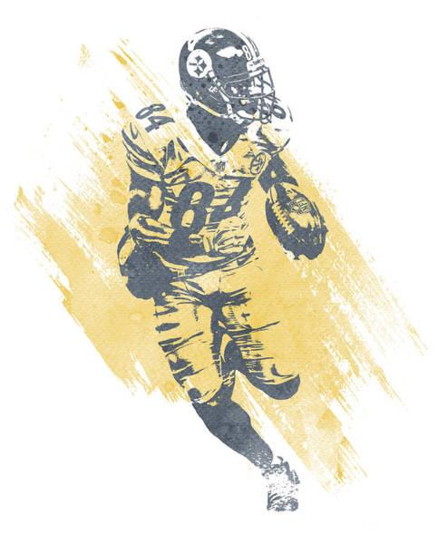 Wall Art - Mixed Media - Antonio Brown Pittsburgh Steelers Water Color Art 2 by Joe Hamilton