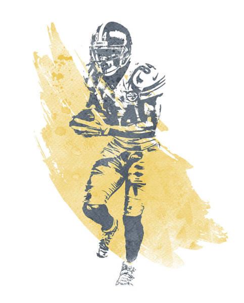 Wall Art - Mixed Media - Antonio Brown Pittsburgh Steelers Water Color Art 3 by Joe Hamilton