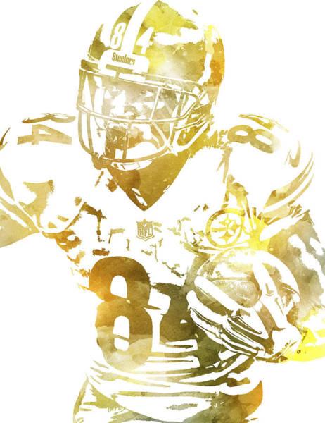 Wall Art - Mixed Media - Antonio Brown Pittsburgh Steelers Water Color Pixel Art 2 by Joe Hamilton