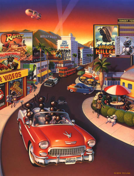 Screen Painting - Ants On The Sunset Strip by Robin Moline