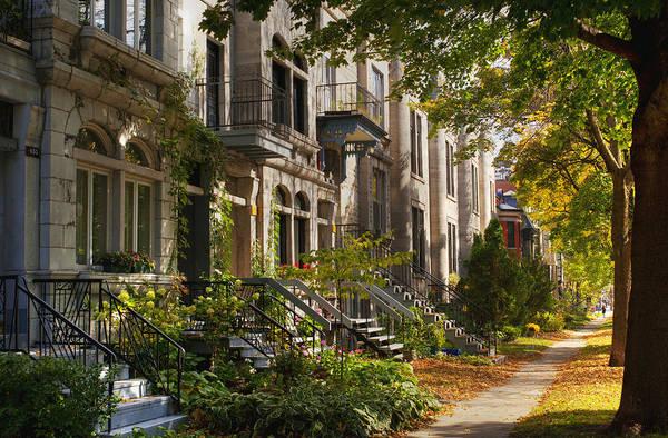 Montreal Neighborhoods Wall Art - Photograph - Apartment Buildings Along City Street by David Chapman