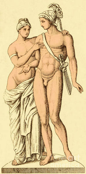Goddess Of Love Wall Art - Photograph - Aphrodite And Ares, Greek Olympians by Photo Researchers
