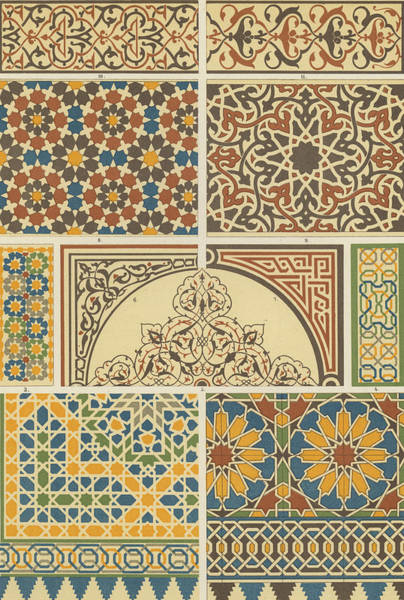 Glazed Wall Art - Drawing - Arabian-moresque, Mosaic Textile Pattern by Arabian School