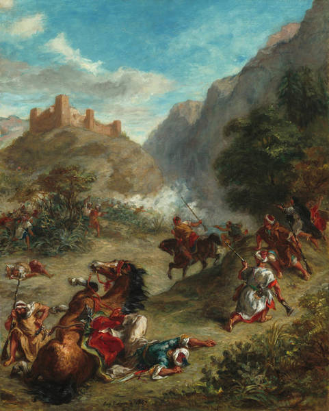 Arab Horse Painting - Arabs Skirmishing In The Mountains by Eugene Delacroix