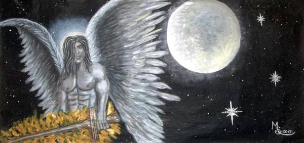 Flaming Sword Painting - Archangel Michael by Absinthe Art By Michelle LeAnn Scott