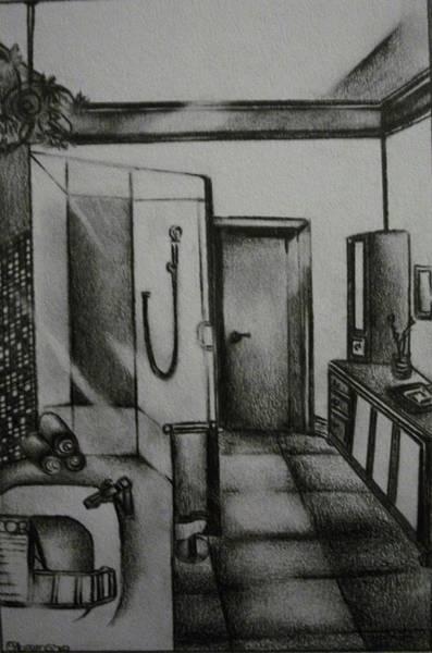 Architectural Bathroom Rendering Art Print