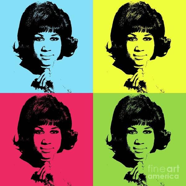 Wall Art - Digital Art - Aretha Franklin, Music Legend - Pop Art by Mary Bassett