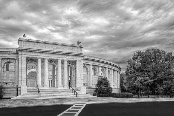 Photograph - Arlington Memorial Amphitheater Bw by Susan Candelario