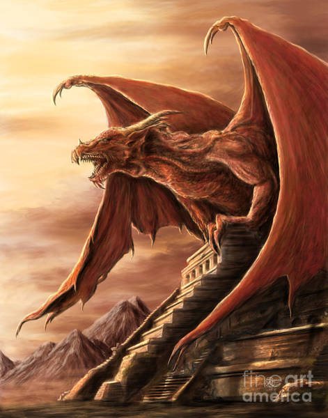 Aztec Digital Art - Armageddon Dragon by MGL Meiklejohn Graphics Licensing
