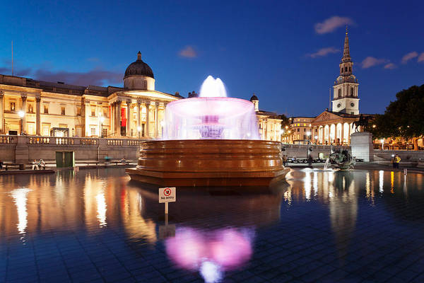 Trafalgar Photograph - Art Museum And Church Lit Up At Night by Panoramic Images