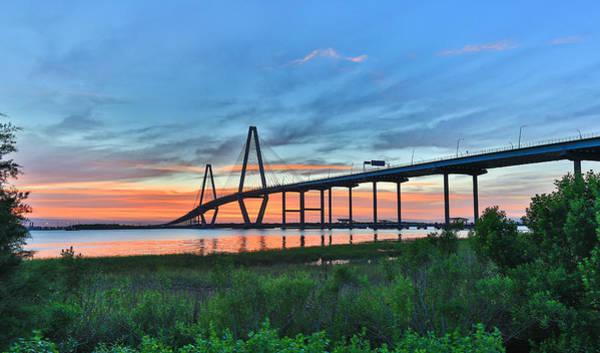 Photograph - Arthur Ravenel Jr. Bridge At Dusk - Charleston Sc by Donnie Whitaker