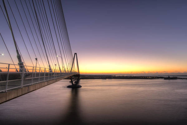 Cable-stayed Bridge Photograph - Arthur Ravenel Jr Bridge Sunrise by Dustin K Ryan