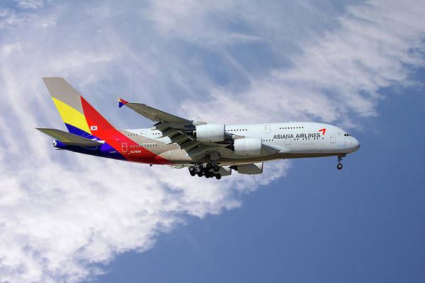 Airline Photograph - Asiana Airlines Airbus A380-841 by Smart Aviation