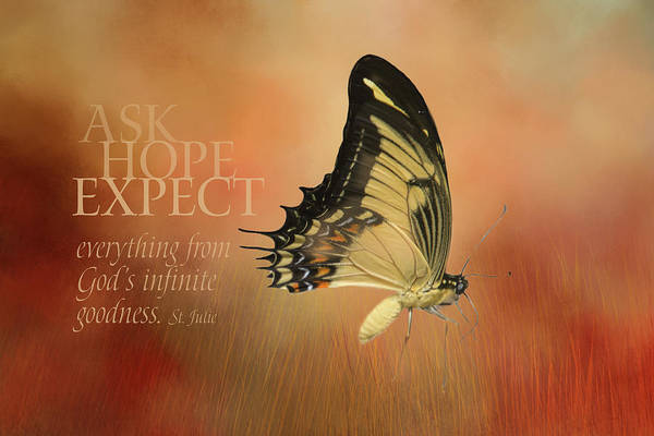 Yellow Trumpet Digital Art - Ask, Hope, Expect Butterfly by Terry Davis