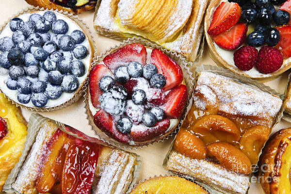 Glazed Wall Art - Photograph - Assorted Tarts And Pastries by Elena Elisseeva
