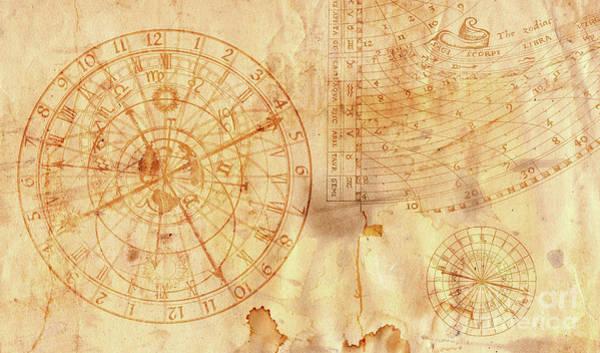 Wall Art - Digital Art - Astronomical Clock In Grunge Style by Michal Boubin