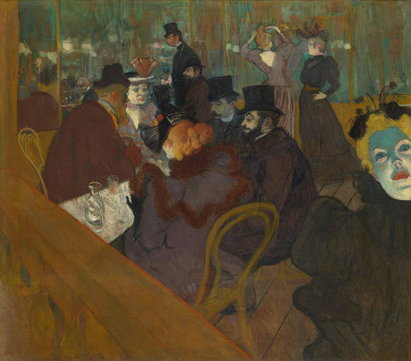 Wall Art - Painting - At The Moulin Rouge by Henri de Toulouse-Lautrec