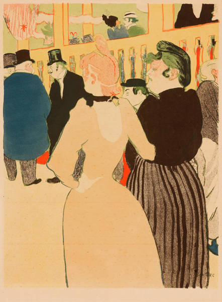 Wall Art - Painting - At The Moulin Rouge, La Goulue And Her Sister by Henri de Toulouse-Lautrec