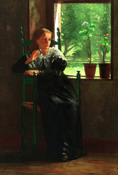 Rural Life Wall Art - Painting - At The Window by Winslow Homer