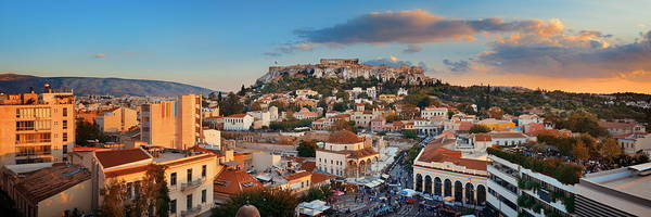Photograph - Athens Skyline Rooftop Panorama Sunset by Songquan Deng