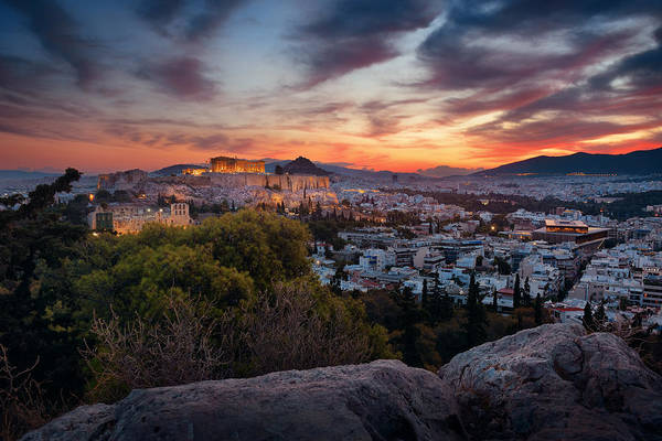 Photograph - Athens Skyline Sunrise by Songquan Deng