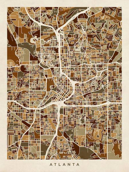 Atlanta Digital Art - Atlanta Georgia City Map by Michael Tompsett