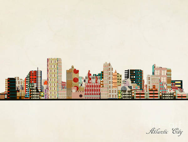 Atlantic Painting - Atlantic City Skyline by Bri Buckley
