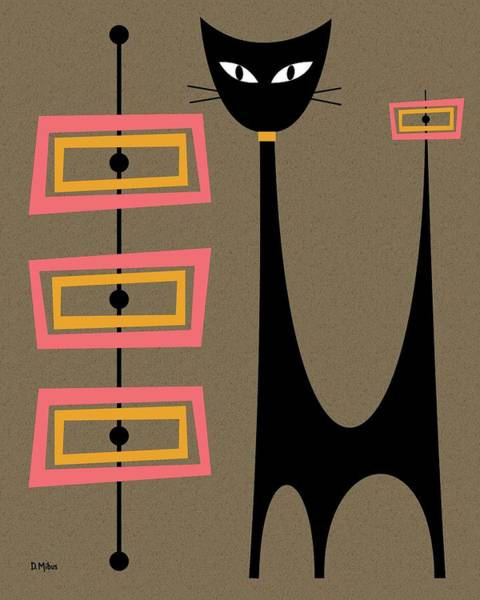 Digital Art - Atomic Cat Gold And Pink by Donna Mibus