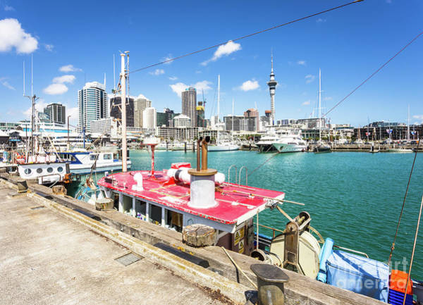 Photograph - Auckland Viaduct Harbour And Skyline by Didier Marti