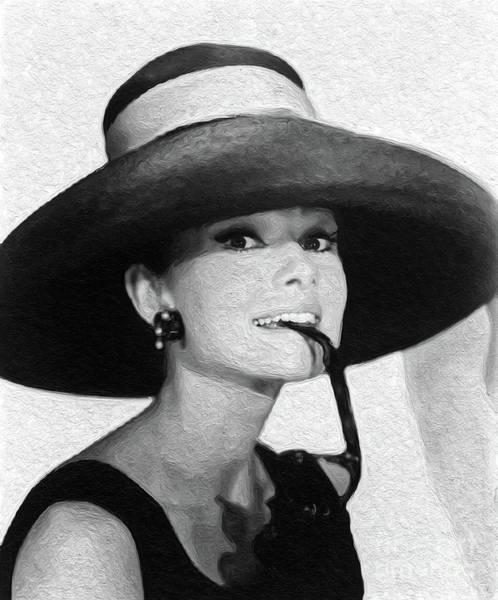 Pinewood Painting - Audrey Hepburn, Vintage Actress by Sarah Kirk