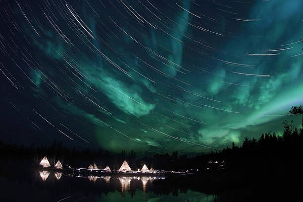 Yellowknife Wall Art - Photograph - Aurora And Star Trails by Yuichi Takasaka