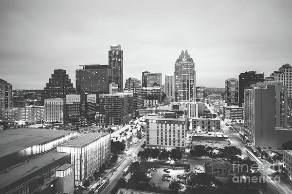 Wall Art - Photograph - Austin Skyline Black And White Photography by Paul Velgos