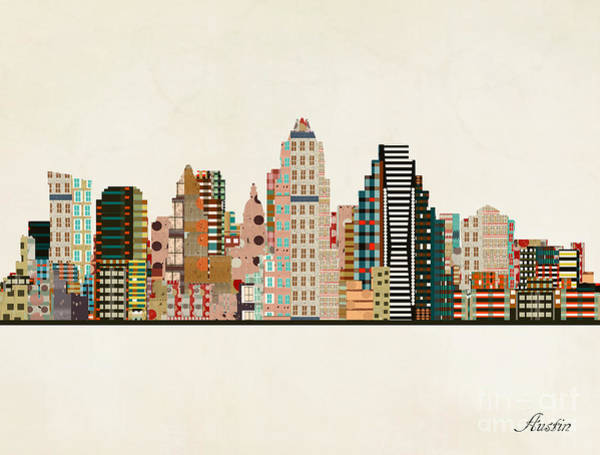 Wall Art - Painting - Austin Texas Skyline by Bri Buckley