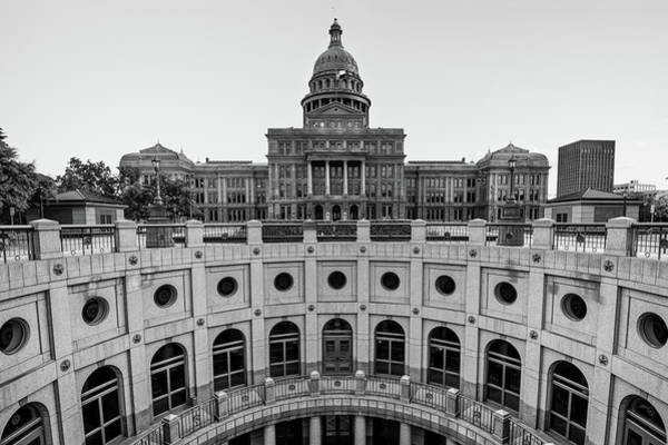 Photograph - Austin Texas Usa State Capitol - Black And White Edition by Gregory Ballos