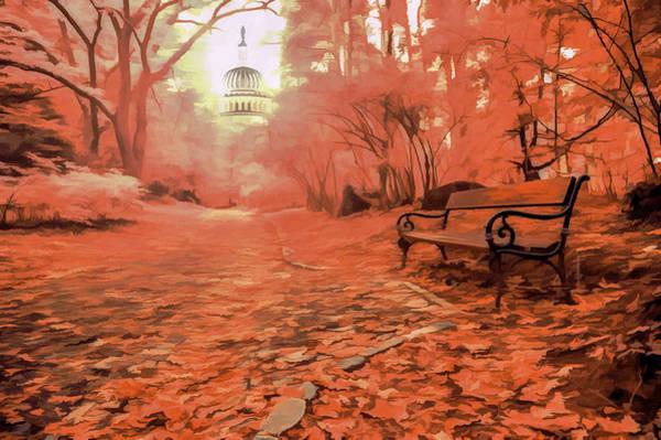 Park Bench Digital Art - Autumn Park by World Art Creations