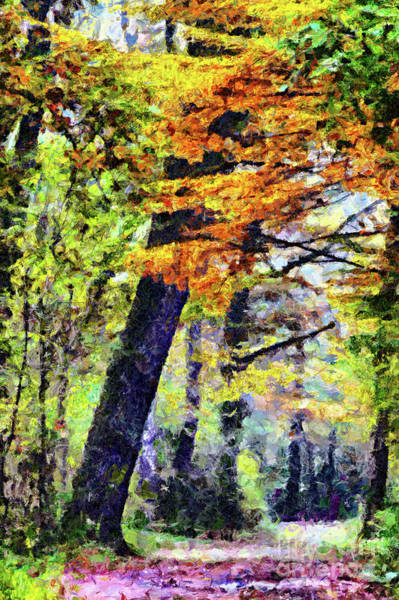 Painting - Autumn Scenery In The Park Painting by Odon Czintos