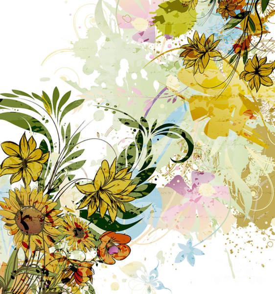 Wall Art - Mixed Media - Autumn Sunflower Digital Illustration by Heinz G Mielke
