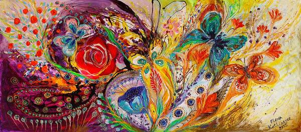 Wall Art - Painting - The Flowers And Butterflies by Elena Kotliarker
