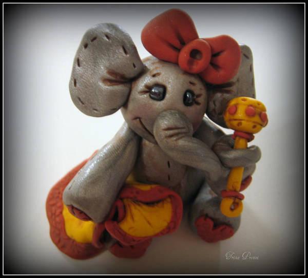 Polymer Clay Photograph - Baby Elephant by Trina Prenzi