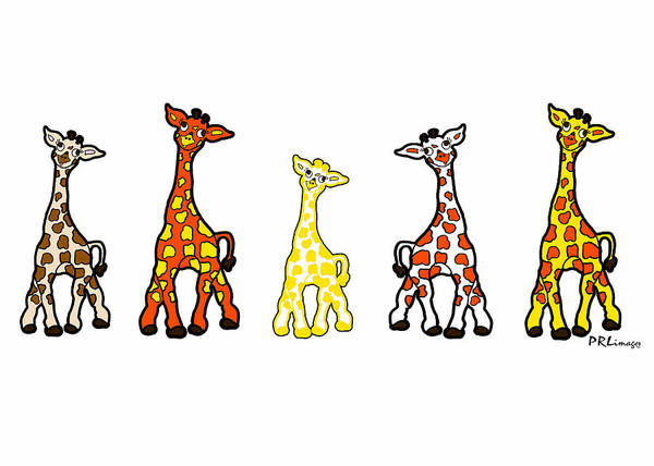 Drawing - Baby Giraffes In A Row by Rachel Lowry