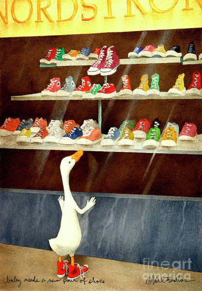 Shopping Painting - baby needs a new pair of shoes...PRINT by Will Bullas