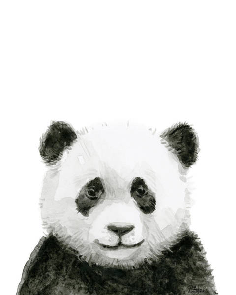Wall Art - Painting - Baby Panda Watercolor by Olga Shvartsur