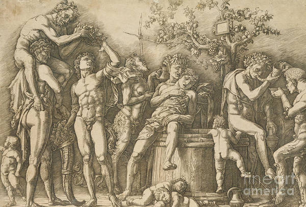 Wall Art - Drawing - Bacchanal With A Wine Vat by Andrea Mantegna