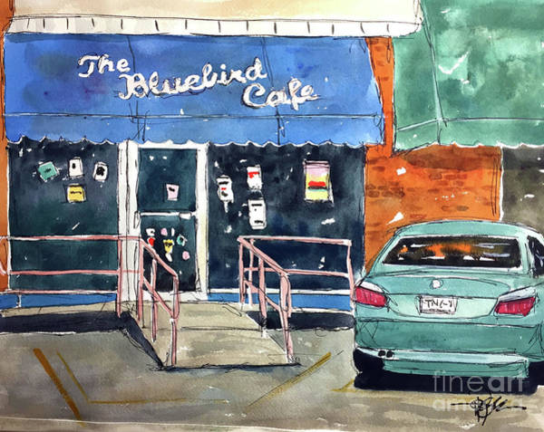 The Bluebird Cafe Painting - Back At The Bluebird by Tim Ross