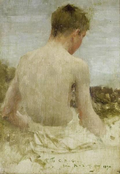 Painting - Back Of A Boy Bather  by Henry Scott Tuke
