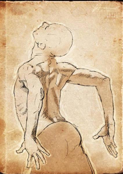 Dancer Drawing - Back Study by H James Hoff