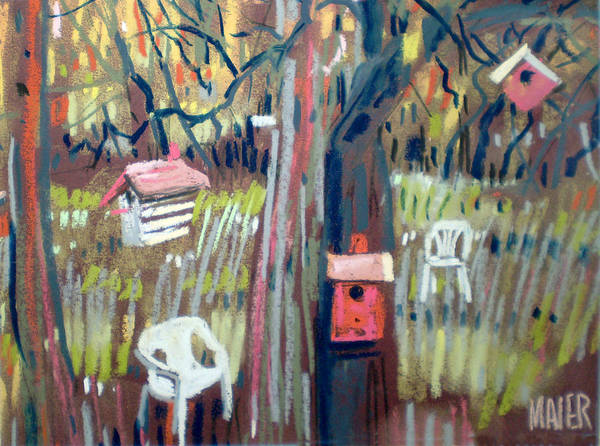 Birdhouse Painting - Backyard And Birdhouses by Donald Maier